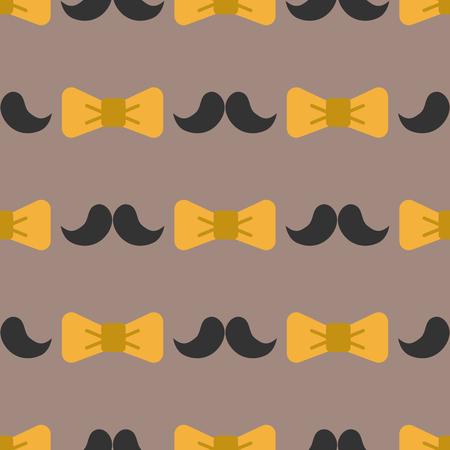 Bow tie achtergrond mode snor retro haar stijl naadloze patroon bowtie accessoire elegante knoop vector illustratie Stock Illustratie