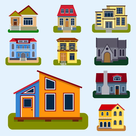 Historical city modern world most visited famous distinctive house building front face facade vector illustration