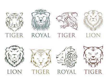 Tijger hoofd koninklijke badge met mooie dieren vector handgetekende leeuw gezicht illustratie.