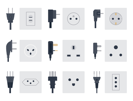 Electric outlet vector illustration energy socket electrical outlets plugs european appliance interior icon. Illusztráció
