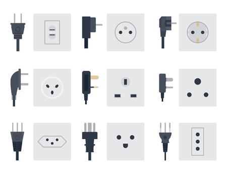Elektrische aansluiting vector illustratie stekker stopcontacten pluggen europese apparaat interieur icoon. Stock Illustratie