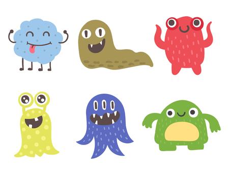 Funny cartoon monster mignon alien personnage créature heureux illustration diable coloré animal vecteur. Banque d'images - 83558443
