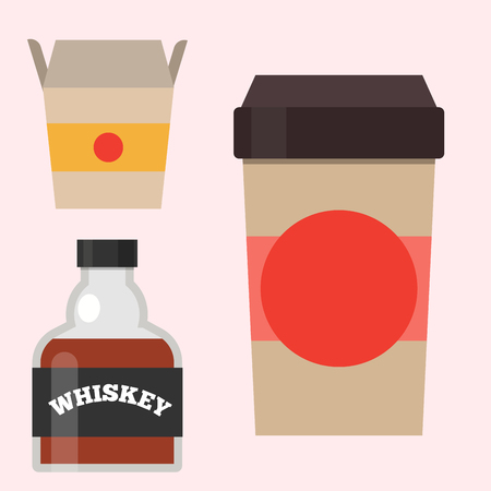 Whiskey bottle glass liquor scotch beverage whisky bourbon drink brandy coffee to go cup vector illustration.