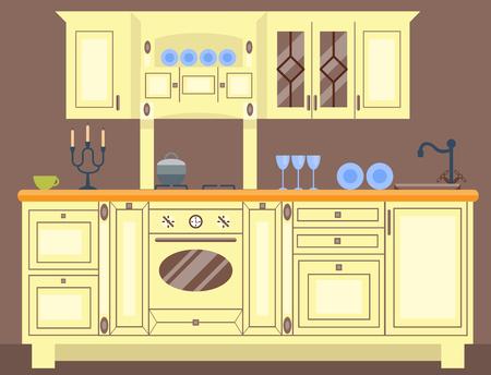 Interni residenziali di cucina moderna in dimora di lusso. Casa architettura nuovo moderno arredamento illustrazione vettoriale. Archivio Fotografico - 83560196