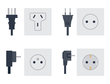 Electric outlet vector illustration energy socket electrical outlets plugs european appliance interior icon. Иллюстрация