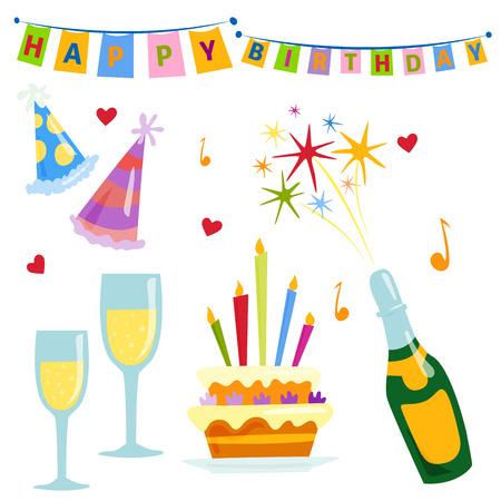 Party iconen viering gelukkige verjaardag verrassing decoratie cocktail gebeurtenis verjaardag vector.