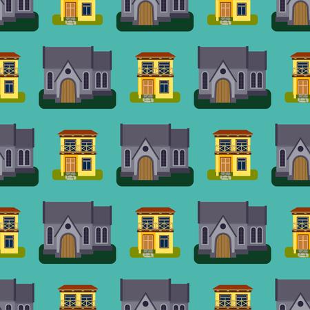 歴史的都市現代世界のシームレスなパターンの特徴的なビル正面ファサードのベクトル図