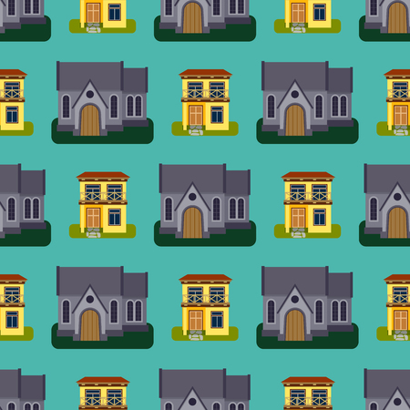 Historical city modern world seamless pattern distinctive house building front face facade vector illustration Ilustracja