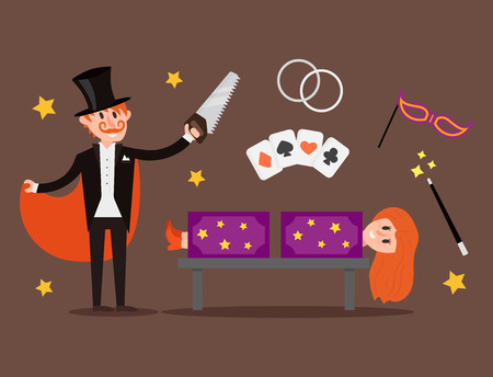 Magician prestidigitator illusionist character tricks juggler vector illustration magic conjurer show cartoon man