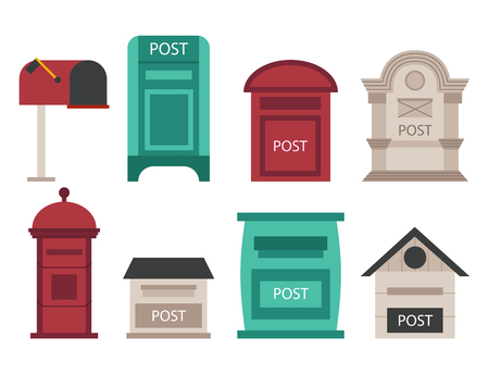 Beautiful rural curbside open and closed postal mailboxes with semaphore flag postbox vector illustration Illustration