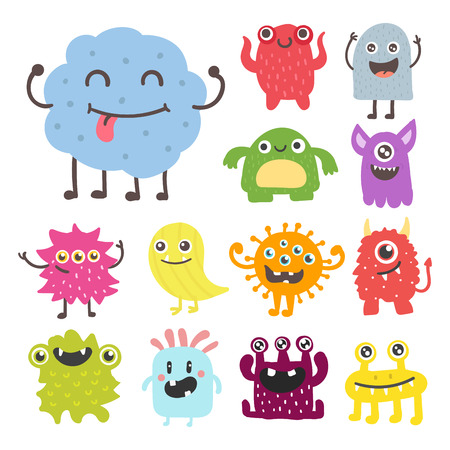 Funny cartoon monster cute alien character creature happy illustration devil colorful animal vector.