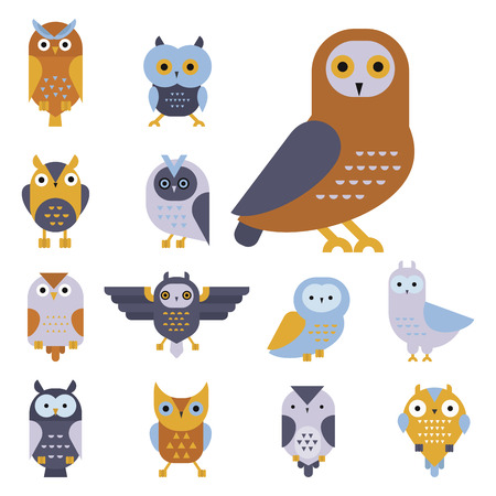 Cartoon uil vogel schattig karakter symbool slaap zoete owlet vector illustratie. Stock Illustratie