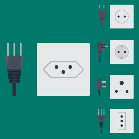 전기 콘센트 벡터 일러스트 레이 션 에너지 소켓 전기 콘센트 플러그 유럽 전기 기기 인테리어 아이콘입니다. 일러스트
