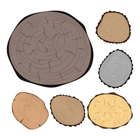 原料をカット木材スライス テクスチャ ツリー サークル セット詳細植物年歴史テクスチャ荒い森林ベクター イラスト。