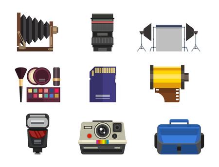 Camera foto optische lenzen instellen verschillende types objectieve retro fotografie apparatuur professionele look vector illustratie
