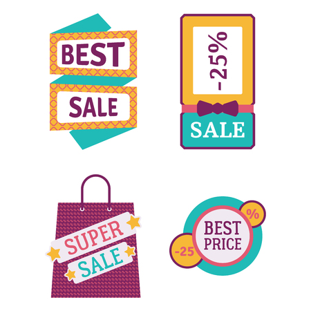 Super sale extra bonus banners text in color drawn label business shopping internet promotion vector illustration Ilustrace