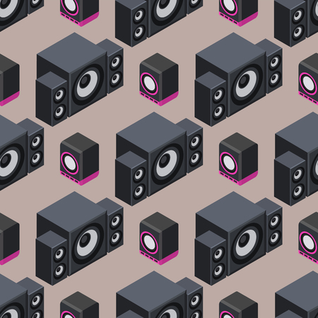 Home isometric sound system stereo acoustic 3d vector seamless pattern music loudspeakers player subwoofer equipment technology.