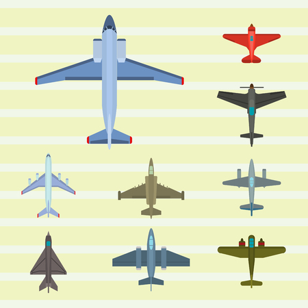 Vector airplane illustration top view and aircraft transportation travel way design journey object. Illustration