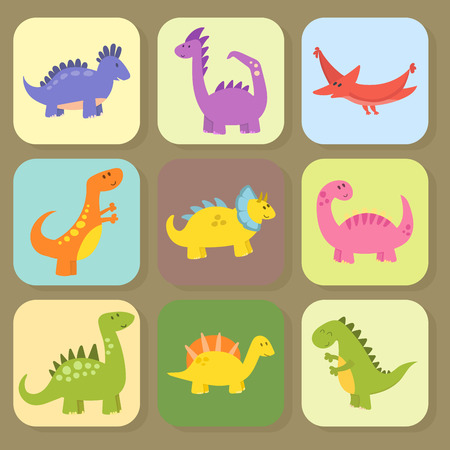 Cartoon dinosaurs vector illustration monster animal dino prehistoric character reptile predator jurassic fantasy dragon cards