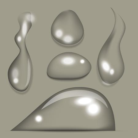 현실적인 물 방울 액체 투명 빗방울 스플래 벡터 일러스트 레이션