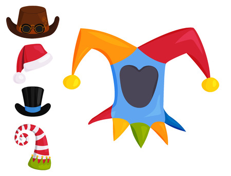 Hats different funny caps for party holidays and masquerade traditional headwear cartoon clothes accessory vector illustration. Imagens - 86812919