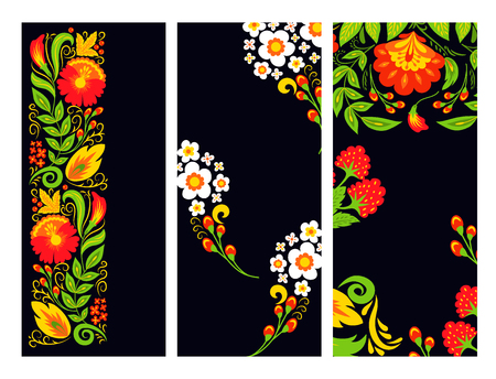Vector khokhloma cards pattern design traditional Russia drawn illustration ethnic ornament painting illustration