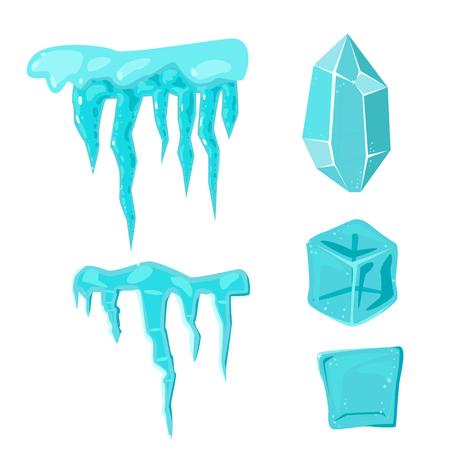 Realistic ice caps snowdrifts and icicles broken piece bit lump cold frozen block crystal winter decor vector illustration Stok Fotoğraf - 86812924