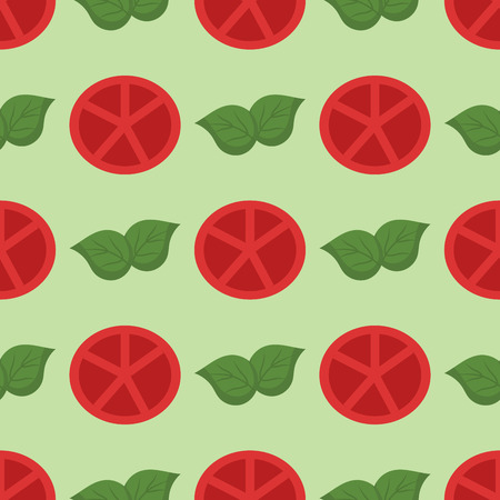 Vegetable organic food sliced red tomato and bunch cluster seamless pattern vector illustration background