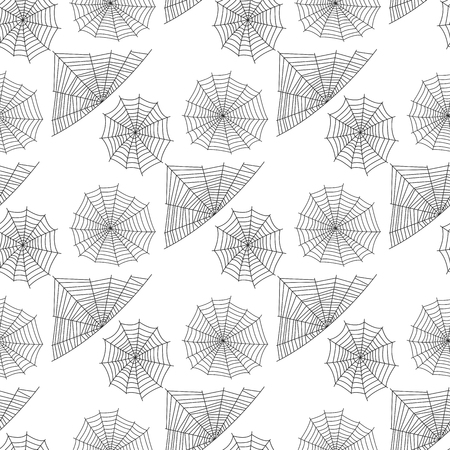 Spider web silhouet spinachtige angst grafische vlakke enge dierlijke naadloze patroon achtergrond vector
