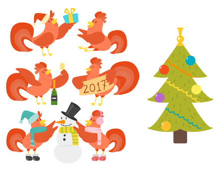 Cute cartoon rooster vector illustration chicken farm christmas animal agriculture domestic character