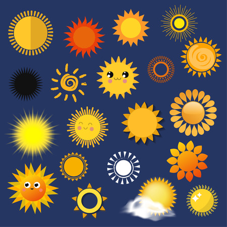 Sun yellow planets different style weather vector illustration season sunny symbol icons collection