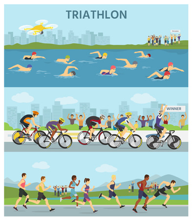 Triathlon marathon sport competition race infographic vector illustration sportsmen people on bike, run, swim vector illustration