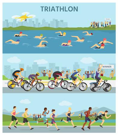 Triatlon marathon sport concurrentie race infographic vector illustratie sportmannen mensen op fiets, uitvoeren, zwemmen vectorillustratie Stock Illustratie
