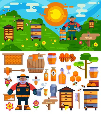 養蜂場養蜂家ベクトル蜂蜜ファーム シンボル アイコンの図を作る  イラスト・ベクター素材