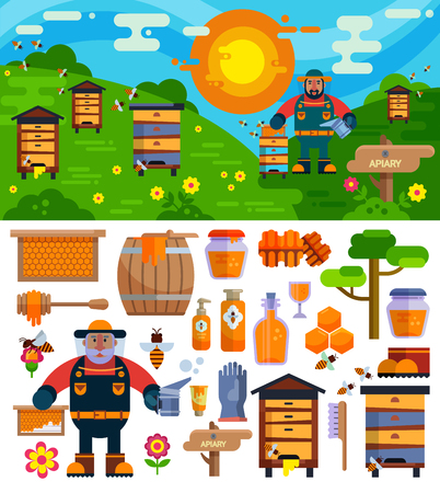Apiary beekeeper vector honey making farm symbols icons illustration Ilustração