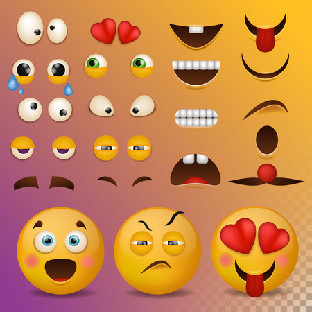 Yellow smiley face character for your scenes template smile cartoon emoji elements emotion big set vector illustration.