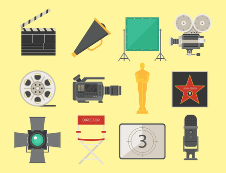 Cinema movie making tv show tools equipment symbols icons vector cinematography illustration. Illustration