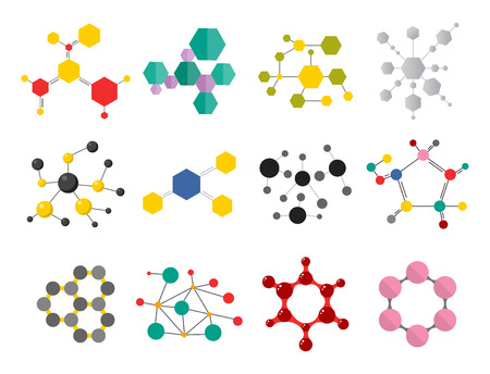 Colorful molecular structures in the form of sphere structure microscopic technology web design, molecule vector. Illustration