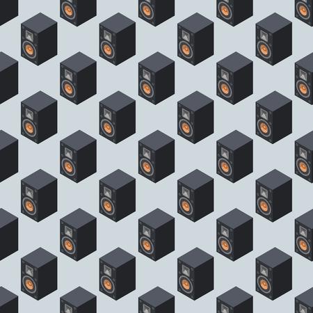 Thuis isometrische geluidssysteem stereo akoestische 3D-vector naadloze patroon muziek luidsprekers speler subwoofer apparatuur technologie. Stock Illustratie