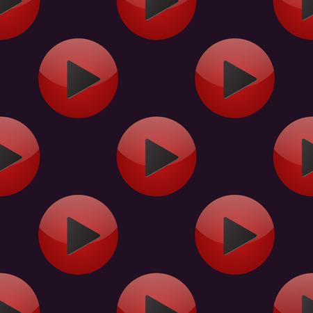 UI interface button play media internet website online seamless pattern player mark click vector illustration.