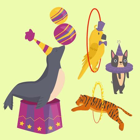 서커스, 재미있는, 동물, 쾌활한, 동물원, 엔터테인먼트, 마술사, 연기자, 카니발, 일러스트 레이션,