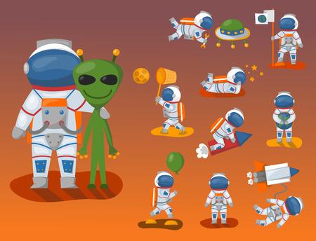 공간에서 우주 비행사, 문자 작업 및 재미 우주인 갤럭시 대기 시스템 판타지 여행자 남자입니다.