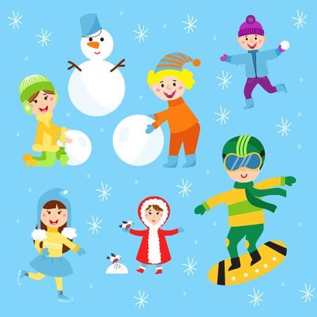 Christmas kids playing winter games. Skating, skiing, sledding boy makes snow man children playing snowballs.