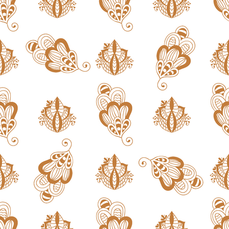Henna tattoo brown mehndi flower template doodle ornamental lace decorative indian design seamless pattern.
