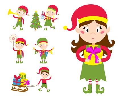 Santa Claus kids cartoon elf helpers vector illustration children elves characters traditional costume. Ilustrace