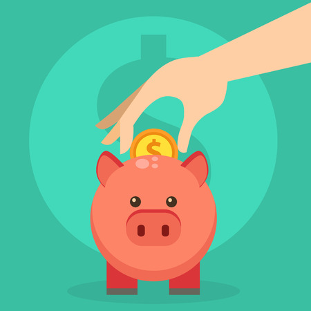 Vector save money piggy bank flat design banking economy save coin finance moneybox piggybank business investment pig box illustration.