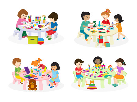 Group of children painting on paper at table in kindergarten paint lesson kids characters club house vector illustration.
