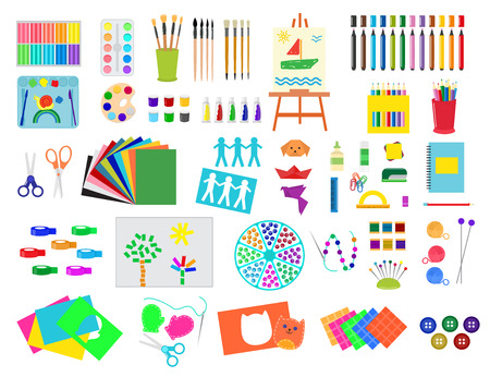Kids creativity creation symbols artistic objects for children creativity handmade work art vector illustration.