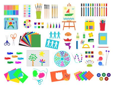 Kids creativity creation symbols artistic objects for children creativity handmade work art vector illustration.