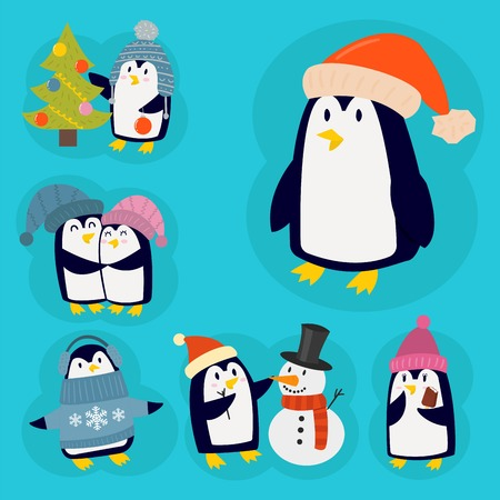 Penguin christmas vector illustration character cartoon funny cute animal antarctica polar beak pole winter bird. Ilustrace